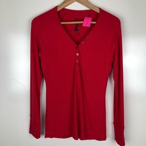 NWT Betsey Johnson heart button henley. Size M